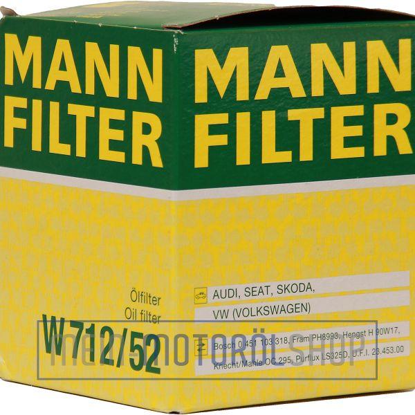 ORIGINAL MANN FILTER ÖLFILTER W 712/52 VW AUDI SEAT SKODA GOLF POLO 1.0 1.4 1.6